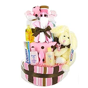 Trendy Pink & Brown Diaper Cake - Baby Shower Gift Idea for Newborn Girls