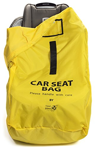 Travel Babeez Durable Car Seat Travel Bag, Airport Gate Check Bag with Easy-to-Carry Backpack-Style Shoulder Straps & Drawstring Closure | Ballistic Nylon (Yellow)