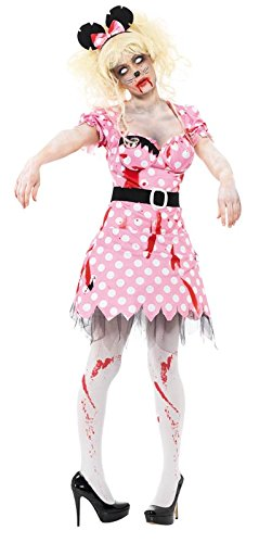 Smiffy's Women's Zombie Rodent Costume with Dress Belt and Headband