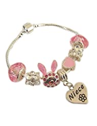 Treasured Charms & Beads Niece Pink Sparkle Silver Plated Bunny Rabbit Charm Bracelet Age 4-6 Years 16CM