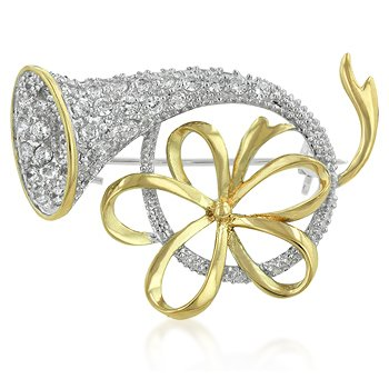 14K Gold Bonded Christmas Holidays Horn Bow Brooch Pin with Clear Cubic Zirconia Accents