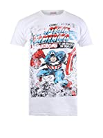 ZZ-Marvel Camiseta Manga Corta Captain America Madbomb (Blanco)