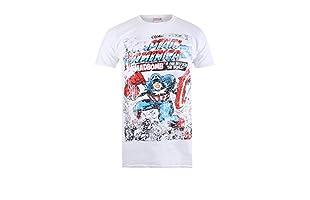 MARVEL Camiseta Manga Corta Captain America Madbomb (Blanco)