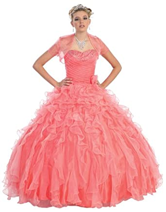 Ball Gown Formal Prom Strapless Wedding Dress #26 (4, Coral)