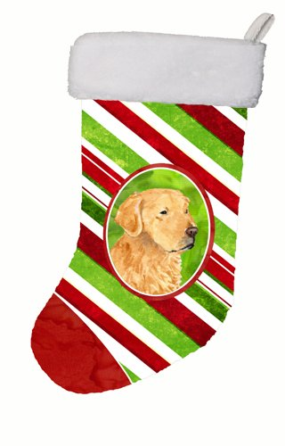 Caroline's Treasures Golden Retriever Candy Cane Christmas Stocking, 11 x 18