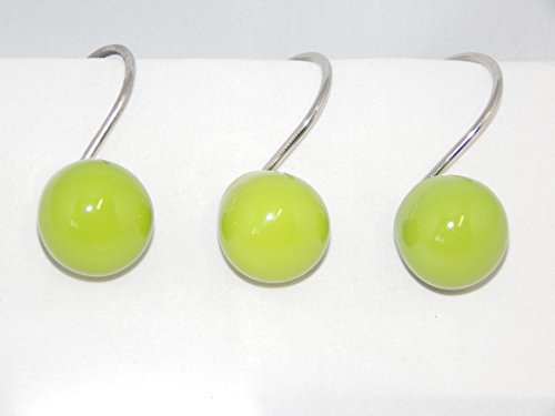 Lime Green Orbit 12 Shower Curtain Hooks Retro Ball Bath