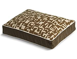 Fabric Modern Rectangle Pet Bed, Chocolate, Small