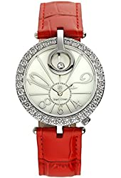 Royal Crown Women's Jewelry Watches Genuine leather strap Quartz Mother of Pearl Dial LANGII-3850-RED
