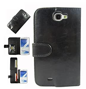 Hanicase (TM) FULL SIZE CASH POCKET LEATHER WALLET WITH 8 CARD WALLET LEATHER CASE FOR SAMSUNG GALAXY NOTE II N7100 BLACK