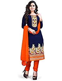 Smart Products Cotton Embroidered Semi-stitched Salwar Suit Dupatta Material