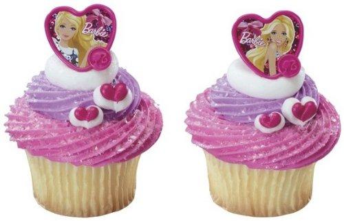 24 ct - Barbie Fashion Heart Cupcake Rings - 1