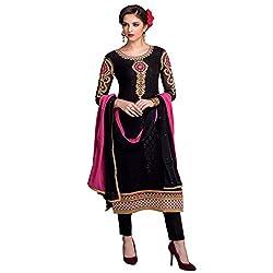 Bhelpuri Women Black Brasso Georgette Dress Material