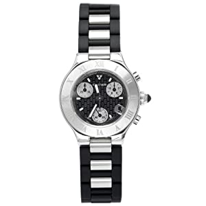 Cartier Women's W10198U2 Must 21 Chronoscaph Stainless Steel and Black Rubber Chronograph Watch by Cartier