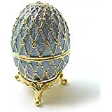 Light Blue Faberge Style Egg Box on Stand set with Swarovski Crystals includes Ring Insert