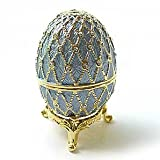 Light Blue Faberge Egg Box on Stand set with Swarovski Crystals 24k Gold Powder figurine