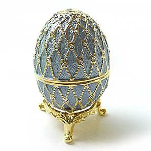 Light Blue Faberge Style Egg Box on Stand set with Swarovski Crystals includes Ring Insert - Sparkling Collectibles