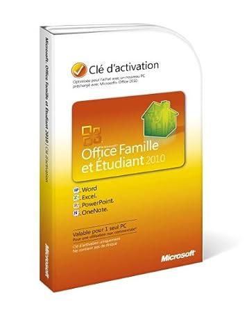 Office famille et étudiant 2010, 1 poste (clé d'activation seule)