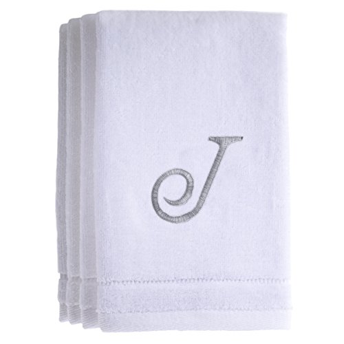 Monogrammed Towels Fingertip, Personalized Gift, 11 x 18 Inches - Set of 4- Silver Embroidered Towel - Extra Absorbent 100% Cotton- Soft Velour Finish - For Bathroom/ Kitchen/ Spa- Initial J (White) (Cleveland Hotel In Miami Beach compare prices)