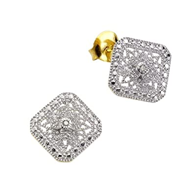 Diamonds by Ellen K. 358220163V White Round cut 0.0212 carats Diamond Silver Stud Earrings