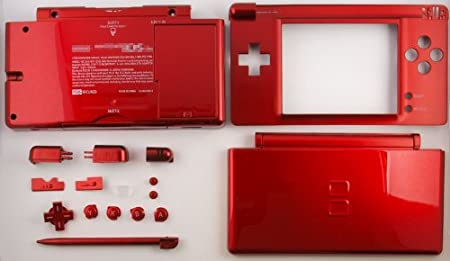 Red Metallic - Nintendo DS Lite Complete Full Housing Shell Case Replacement Repair w/ Hinge Set