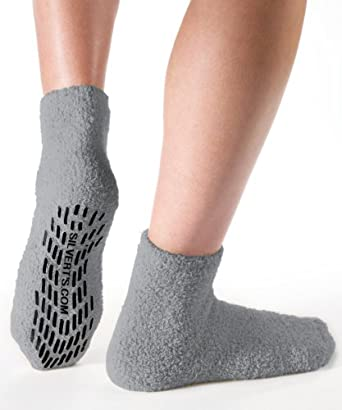 Non Skid/Slip Socks - Hospital Socks - Slipper Socks for Women and Men - Grey (One Size)