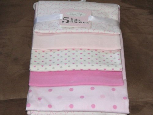 Rene Rofe Set of 5 Flannel Receiving Blankets - Pink Hearts Poke-A-Dots - 1