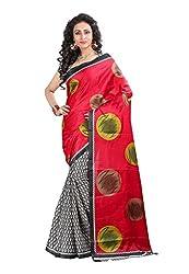 Bansy Fashion Red Coloured Bhagalpuri Silk Printed Saree