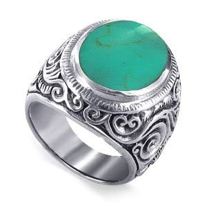 Reconstituted Turquoise Band Silver Chunky Ring Size 11