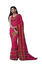 AASRI Women Pink Cotton Blend Printed Work Saree