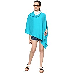 Pluchi Fashion Knitted Cotton Poncho Viktoria-Beachy Blue