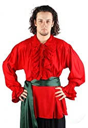 Medieval Poet's Pirate Shirt Costume [Red] (Large)