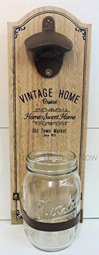 Apribottiglie in legno con montaggio a parete, stile vintage, per la casa, con barattolo cattura tappi