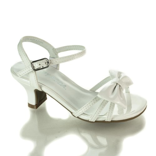 Girlyii White Pat Children'S Open Toe Bow Slingback Small Block Heel Sandals-9 front-415463