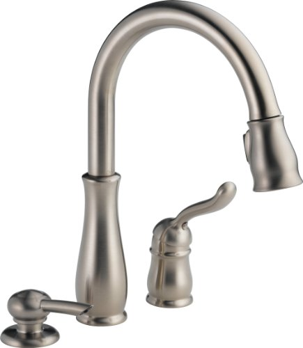 Delta Faucet 978-SSSD-DST Leland Single Handle Pull-Down Kitchen Faucet with Soap Dispenser, Stainless