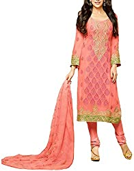 Binny Creation Women's Semi-Stitched Georgette Embroidered Salwar Suit. (light pink)