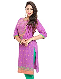 Mytri Cambric Straight Purple Women Long Kurta