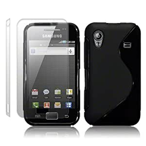 SAMSUNG GALAXY ACE BLACK TPU GEL SKIN CASE, WITH 2 SCREEN PROTECTORS, IN QUBITS RETAIL PACKAGING