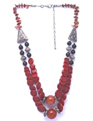 V3 Craft's Murano Glass Disks With Carenelion&Black Agate Bead Necklace For Women
