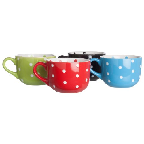 Signature Housewares Coffee And Tea Mugs, Polka Dot, Set Of 4