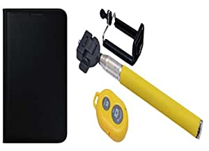 Novo Style Oppo F1 Premium PU Leather Quality Black Flip Cover+ Selfie Stick with Adjustable Phone Holder and Bluetooth Wireless Remote Shutter