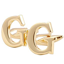 Men\'s Shirts Cufflinks Alphabet Letter High-Quality 4 Color(A-Z) Golden G