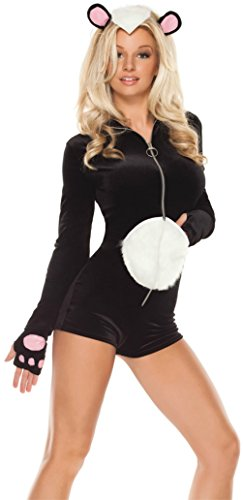 Coquette Womens La Belle Skunk Jumpsuit Animal Outfit Fancy Dress Sexy Costume