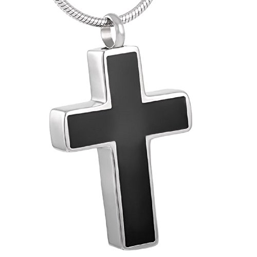 Casket ETC Black Inlay Cross Urn Necklace Cremation