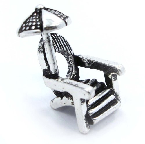 &quot; Beach Chair &quot; Silver Charm Bead Pandora Troll Chamilia Kay Zable Compatible