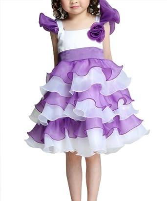 DAPENE Sweet Flouncing TuTu Cake Multi-Level Dress Purple 100