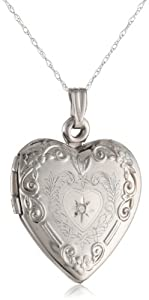 Klassics 10k White Gold and Diamond Heart Pendant Necklace, 18