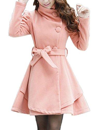 Women's Fold-Collar Tie Front Wool Coats