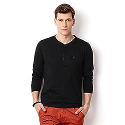 Rodid Solid Men's Henley Black T-Shirt_M