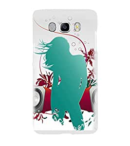 Printvisa Green Musical Girl Pic Back Case Cover for Samsung Galaxy J7 (2016)::Samsung J710F