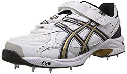 Asics Mens GEL-SPEED MENACE LO LF FOOT White, Black and Gold Mesh Cricket Shoes - 8 UK